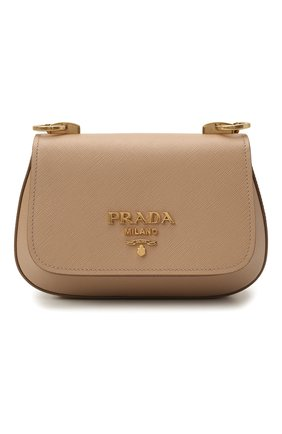 Женская сумка PRADA бежевого цвета, арт. 1BD275-NZV-F0770-COO   Фото 1 (Материал: Натуральная кожа; Сумки-технические: Сумки через плечо; Ремень/цепочка: На ремешке; Размер: small)