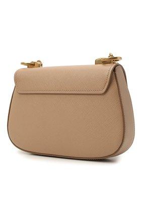 Женская сумка PRADA бежевого цвета, арт. 1BD275-NZV-F0770-COO   Фото 2 (Материал: Натуральная кожа; Сумки-технические: Сумки через плечо; Ремень/цепочка: На ремешке; Размер: small)