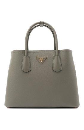 Женская сумка double PRADA серого цвета, арт. 1BG775-2A4A-F01T3-OOO | Фото 1 (Материал: Натуральная кожа; Сумки-технические: Сумки top-handle; Ремень/цепочка: На ремешке; Размер: medium)