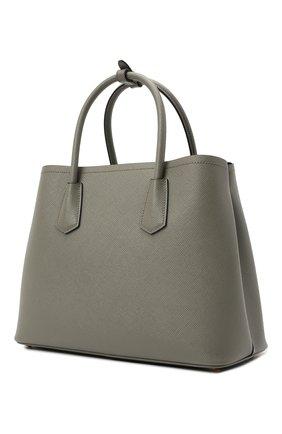Женская сумка double PRADA серого цвета, арт. 1BG775-2A4A-F01T3-OOO | Фото 2 (Материал: Натуральная кожа; Сумки-технические: Сумки top-handle; Ремень/цепочка: На ремешке; Размер: medium)