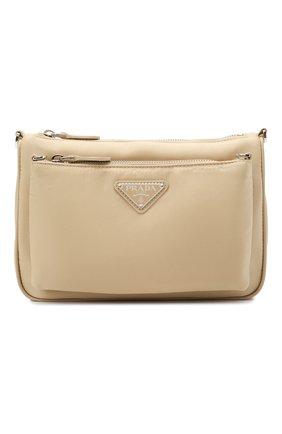 Женская сумка PRADA светло-бежевого цвета, арт. 1BH168-R064-F0F24-OOT   Фото 1 (Сумки-технические: Сумки через плечо; Ремень/цепочка: На ремешке; Размер: small; Материал: Текстиль)