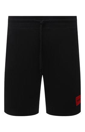 Мужские хлопковые шорты HUGO черного цвета, арт. 50448937 | Фото 1 (Материал внешний: Хлопок; Длина Шорты М: До колена; Принт: Без принта; Кросс-КТ: Трикотаж)