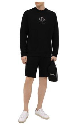 Мужские хлопковые шорты HUGO черного цвета, арт. 50448937 | Фото 2 (Материал внешний: Хлопок; Длина Шорты М: До колена; Принт: Без принта; Кросс-КТ: Трикотаж)