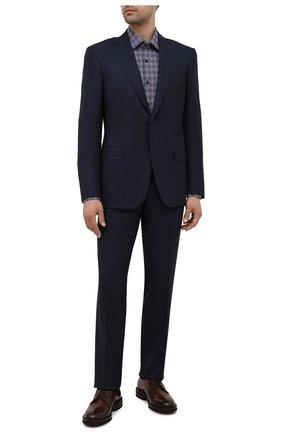 Мужская хлопковая сорочка HUGO синего цвета, арт. 50453417 | Фото 2