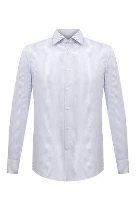 Мужская хлопковая сорочка BOSS белого цвета, арт. 50453989 | Фото 1 (Материал внешний: Хлопок; Длина (для топов): Стандартные; Случай: Формальный; Принт: Полоска; Воротник: Кент; Стили: Классический; Рукава: Длинные; Рубашки М: Regular Fit; Манжеты: На пуговицах)