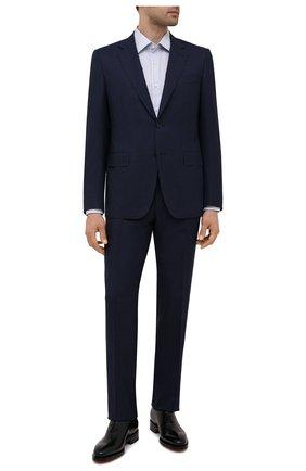 Мужская хлопковая сорочка BOSS белого цвета, арт. 50453989 | Фото 2 (Материал внешний: Хлопок; Длина (для топов): Стандартные; Случай: Формальный; Принт: Полоска; Воротник: Кент; Стили: Классический; Рукава: Длинные; Рубашки М: Regular Fit; Манжеты: На пуговицах)