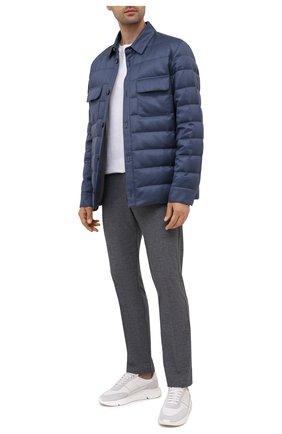 Мужские хлопковые брюки BOSS темно-синего цвета, арт. 50452804 | Фото 2