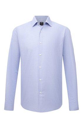 Мужская хлопковая сорочка BOSS голубого цвета, арт. 50460153 | Фото 1 (Длина (для топов): Стандартные; Материал внешний: Хлопок; Случай: Формальный; Воротник: Кент; Рукава: Длинные; Стили: Классический; Рубашки М: Regular Fit; Манжеты: На пуговицах; Принт: Клетка)