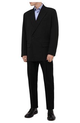Мужская хлопковая сорочка BOSS голубого цвета, арт. 50460153 | Фото 2 (Длина (для топов): Стандартные; Материал внешний: Хлопок; Случай: Формальный; Воротник: Кент; Рукава: Длинные; Стили: Классический; Рубашки М: Regular Fit; Манжеты: На пуговицах; Принт: Клетка)