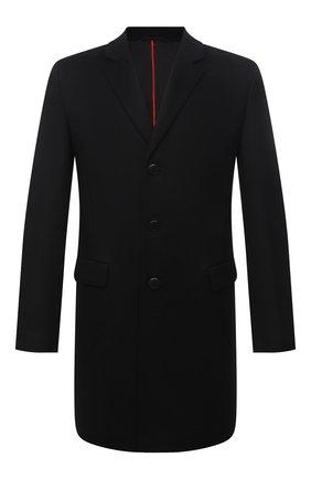Мужской пальто из шерсти и кашемира HUGO черного цвета, арт. 50456693 | Фото 1 (Материал внешний: Шерсть; Мужское Кросс-КТ: пальто-верхняя одежда; Стили: Классический; Рукава: Длинные; Длина (верхняя одежда): До середины бедра)