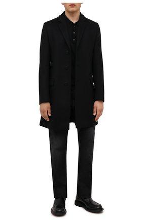 Мужской пальто из шерсти и кашемира HUGO черного цвета, арт. 50456693 | Фото 2 (Материал внешний: Шерсть; Мужское Кросс-КТ: пальто-верхняя одежда; Стили: Классический; Рукава: Длинные; Длина (верхняя одежда): До середины бедра)