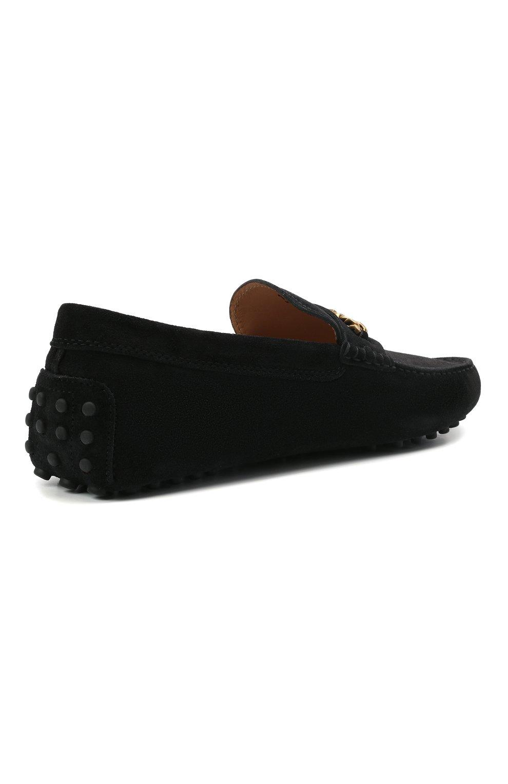 Мужские замшевые мокасины TOD'S черного цвета, арт. XXM64C0EQ90RE0 | Фото 4 (Материал внутренний: Натуральная кожа; Материал внешний: Замша; Стили: Кэжуэл)