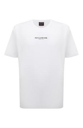 Мужская хлопковая футболка PAUL&SHARK белого цвета, арт. 11311629/C00/3XL-6XL | Фото 1 (Материал внешний: Хлопок; Рукава: Короткие; Принт: С принтом; Длина (для топов): Удлиненные)