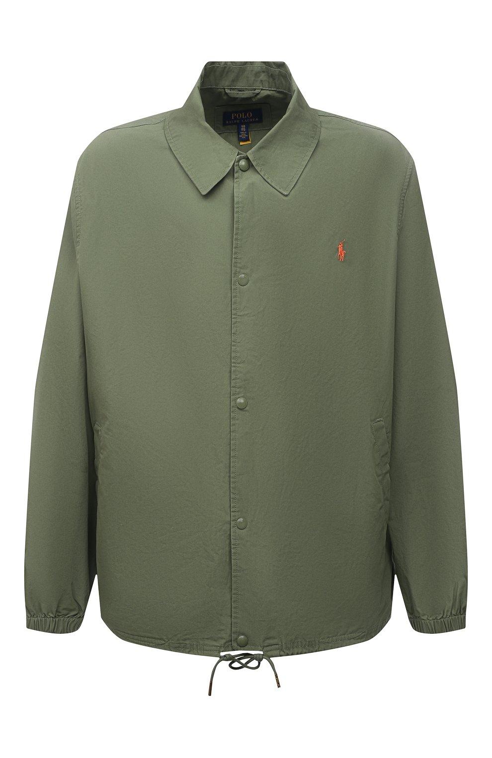 Мужская хлопковая куртка POLO RALPH LAUREN зеленого цвета, арт. 711842968/PRL BS   Фото 1 (Кросс-КТ: Куртка, Ветровка; Big sizes: Big Sizes; Рукава: Длинные; Материал внешний: Хлопок; Длина (верхняя одежда): Короткие; Стили: Кэжуэл)