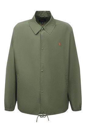 Мужская хлопковая куртка POLO RALPH LAUREN зеленого цвета, арт. 711842968/PRL BS | Фото 1 (Материал внешний: Хлопок; Длина (верхняя одежда): Короткие; Big sizes: Big Sizes; Кросс-КТ: Куртка, Ветровка; Рукава: Длинные; Стили: Кэжуэл)