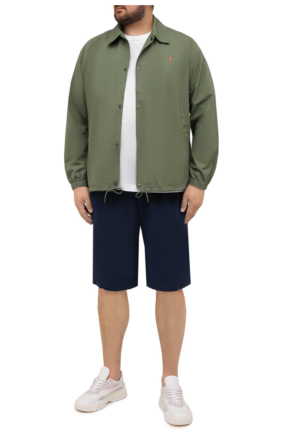 Мужская хлопковая куртка POLO RALPH LAUREN зеленого цвета, арт. 711842968/PRL BS   Фото 2 (Кросс-КТ: Куртка, Ветровка; Big sizes: Big Sizes; Рукава: Длинные; Материал внешний: Хлопок; Длина (верхняя одежда): Короткие; Стили: Кэжуэл)
