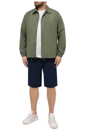 Мужская хлопковая куртка POLO RALPH LAUREN зеленого цвета, арт. 711842968/PRL BS | Фото 2 (Материал внешний: Хлопок; Длина (верхняя одежда): Короткие; Big sizes: Big Sizes; Кросс-КТ: Куртка, Ветровка; Рукава: Длинные; Стили: Кэжуэл)