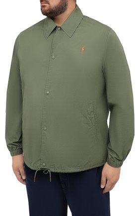 Мужская хлопковая куртка POLO RALPH LAUREN зеленого цвета, арт. 711842968/PRL BS   Фото 3 (Кросс-КТ: Куртка, Ветровка; Big sizes: Big Sizes; Рукава: Длинные; Материал внешний: Хлопок; Длина (верхняя одежда): Короткие; Стили: Кэжуэл)