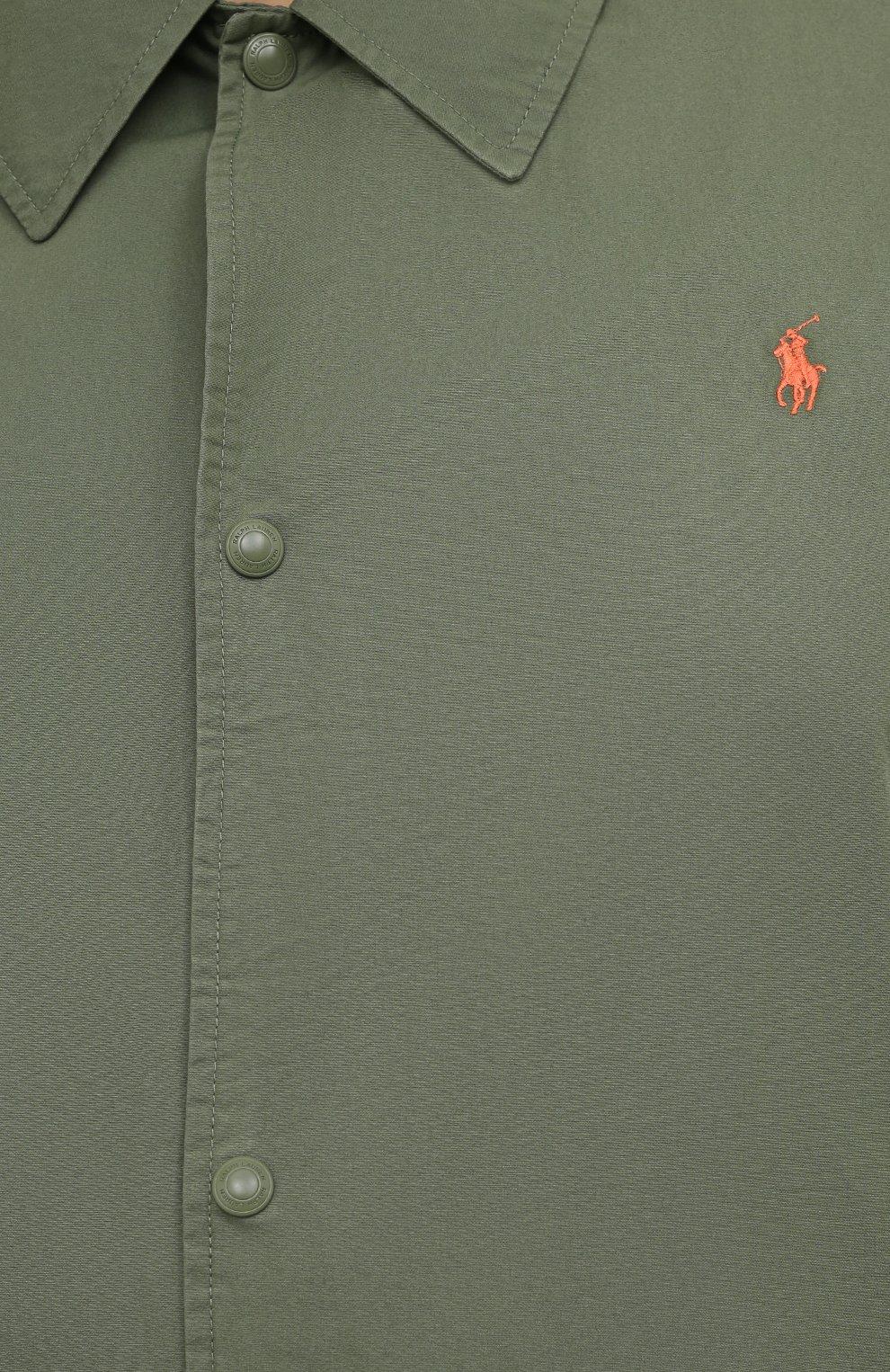Мужская хлопковая куртка POLO RALPH LAUREN зеленого цвета, арт. 711842968/PRL BS   Фото 5 (Кросс-КТ: Куртка, Ветровка; Big sizes: Big Sizes; Рукава: Длинные; Материал внешний: Хлопок; Длина (верхняя одежда): Короткие; Стили: Кэжуэл)