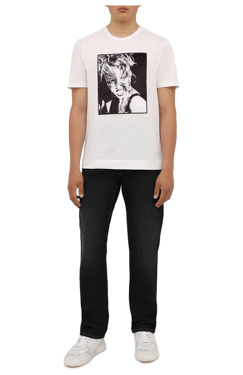 Мужская хлопковая футболка LIMITATO белого цвета, арт. H0ME AL0NE/T-SHIRT   Фото 2 (Рукава: Короткие; Длина (для топов): Стандартные; Принт: С принтом; Материал внешний: Хлопок)