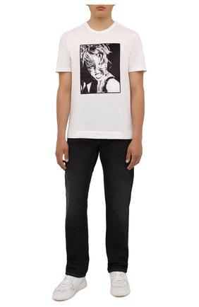 Мужская хлопковая футболка LIMITATO белого цвета, арт. H0ME AL0NE/T-SHIRT | Фото 2 (Длина (для топов): Стандартные; Материал внешний: Хлопок; Рукава: Короткие; Принт: С принтом)