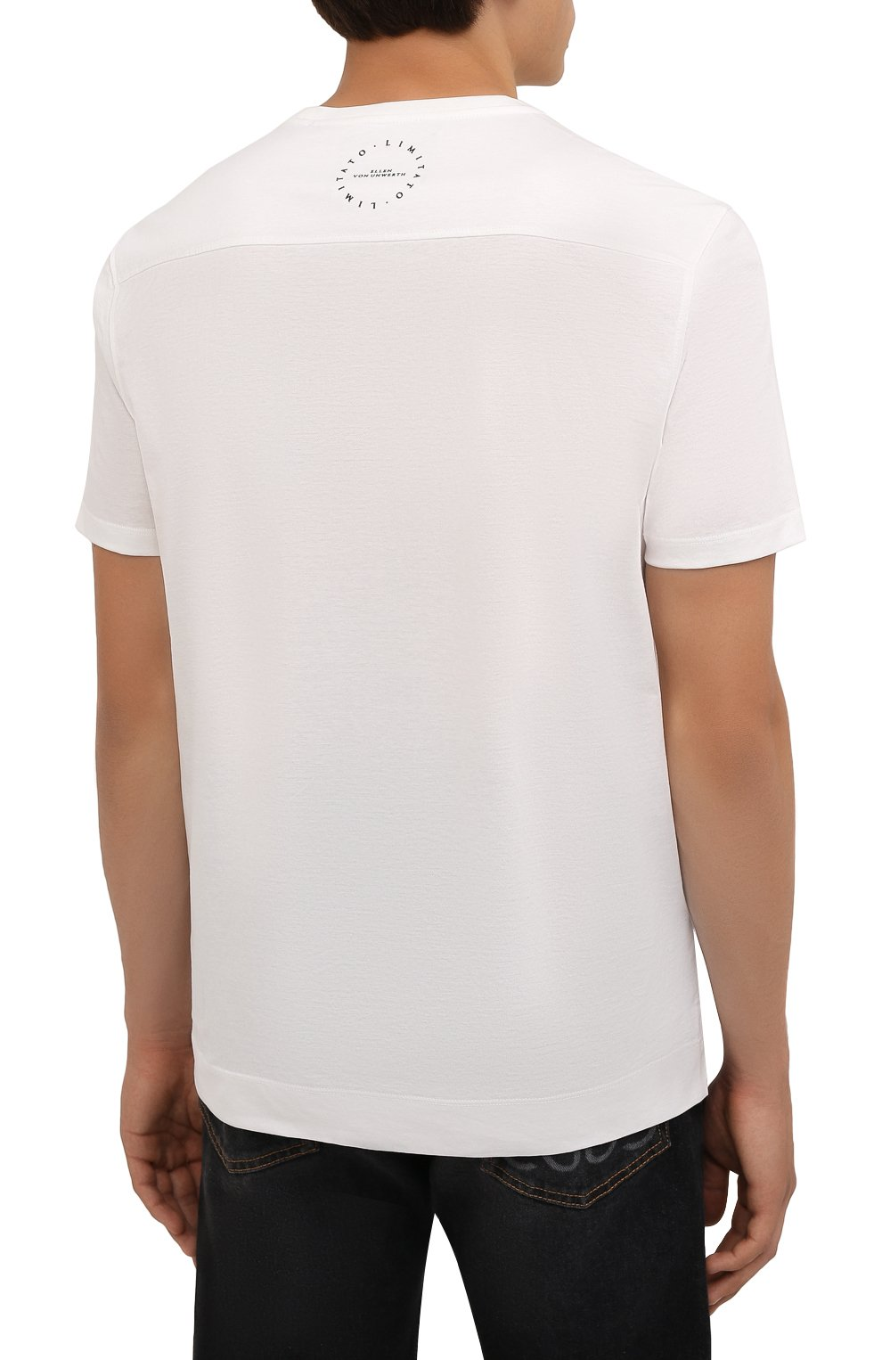 Мужская хлопковая футболка LIMITATO белого цвета, арт. H0ME AL0NE/T-SHIRT   Фото 4 (Рукава: Короткие; Длина (для топов): Стандартные; Принт: С принтом; Материал внешний: Хлопок)