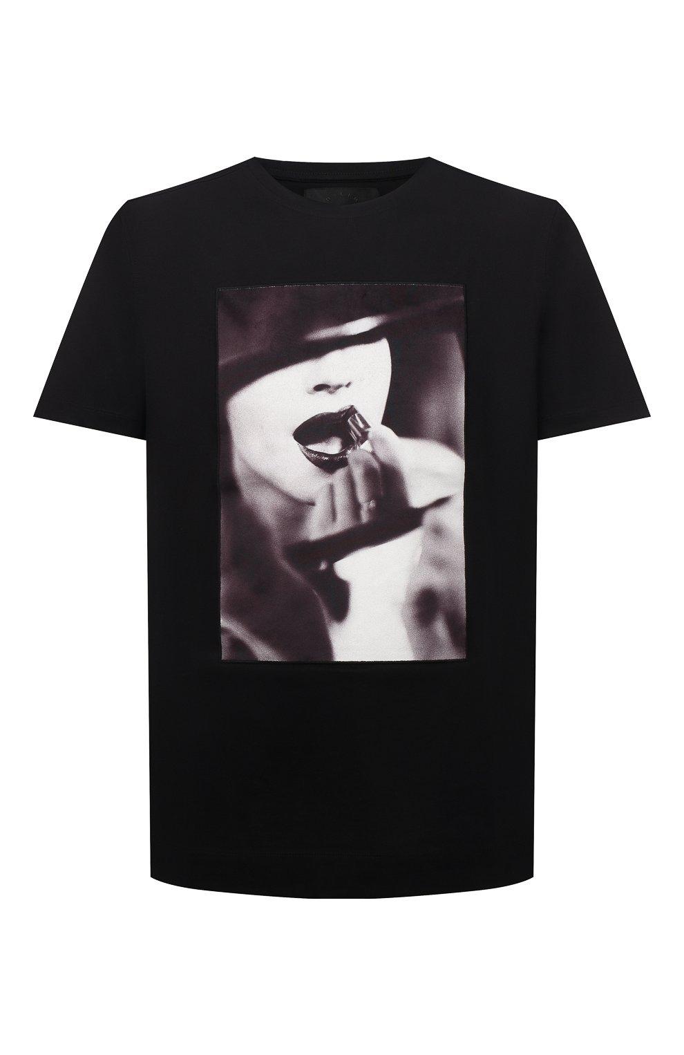 Мужская хлопковая футболка LIMITATO черного цвета, арт. STUDY/T-SHIRT   Фото 1 (Рукава: Короткие; Длина (для топов): Стандартные; Принт: С принтом; Материал внешний: Хлопок)