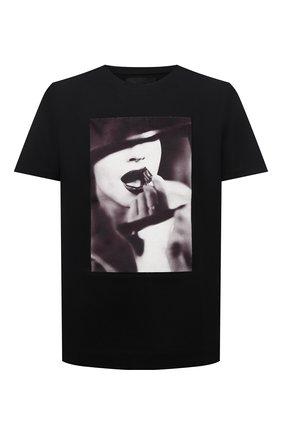Мужская хлопковая футболка LIMITATO черного цвета, арт. STUDY/T-SHIRT | Фото 1 (Материал внешний: Хлопок; Длина (для топов): Стандартные; Рукава: Короткие; Принт: С принтом)