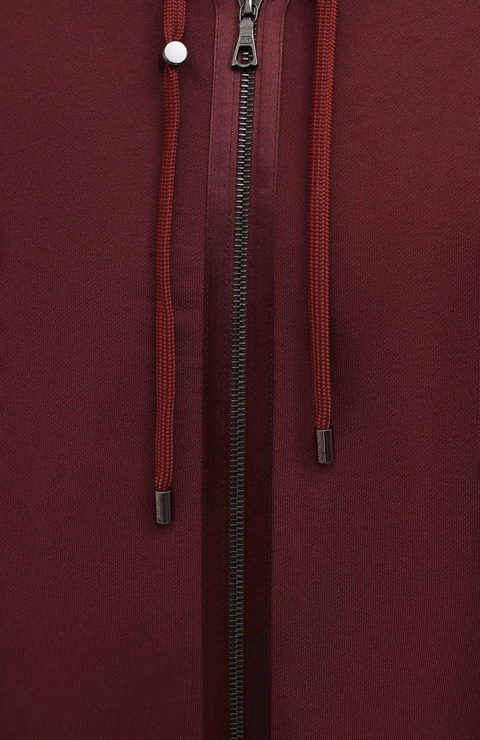Мужской хлопковая толстовка LIMITATO бордового цвета, арт. TW0 T0NE/H00DIE ZIP | Фото 5 (Рукава: Длинные; Мужское Кросс-КТ: Толстовка-одежда; Длина (для топов): Стандартные; Материал внешний: Хлопок)