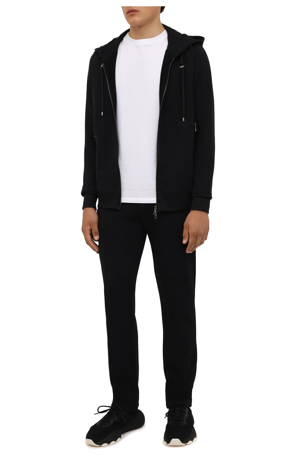 Мужские хлопковые брюки LIMITATO черного цвета, арт. TW0 T0NE/TRACK PANTS   Фото 2 (Мужское Кросс-КТ: Брюки-трикотаж; Длина (брюки, джинсы): Стандартные; Случай: Повседневный; Кросс-КТ: Спорт; Материал внешний: Хлопок; Стили: Спорт-шик)