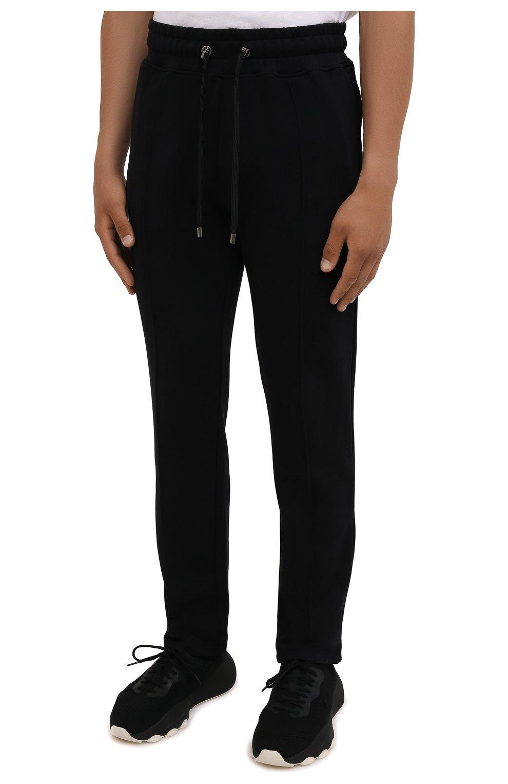 Мужские хлопковые брюки LIMITATO черного цвета, арт. TW0 T0NE/TRACK PANTS   Фото 3 (Мужское Кросс-КТ: Брюки-трикотаж; Длина (брюки, джинсы): Стандартные; Случай: Повседневный; Кросс-КТ: Спорт; Материал внешний: Хлопок; Стили: Спорт-шик)