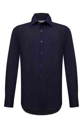 Мужская хлопковая сорочка CANALI темно-синего цвета, арт. X05/GD02301 | Фото 1 (Материал внешний: Хлопок; Случай: Формальный; Рубашки М: Slim Fit; Стили: Классический; Длина (для топов): Стандартные; Рукава: Длинные; Манжеты: На пуговицах; Принт: Однотонные; Воротник: Акула)