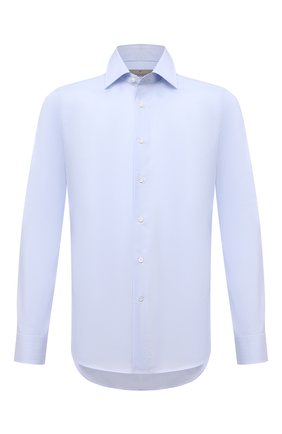 Мужская хлопковая сорочка CANALI голубого цвета, арт. NX05/GR01599 | Фото 1 (Материал внешний: Хлопок; Случай: Формальный; Рукава: Длинные; Стили: Классический; Длина (для топов): Стандартные; Рубашки М: Slim Fit; Воротник: Акула; Манжеты: На пуговицах; Принт: Однотонные)
