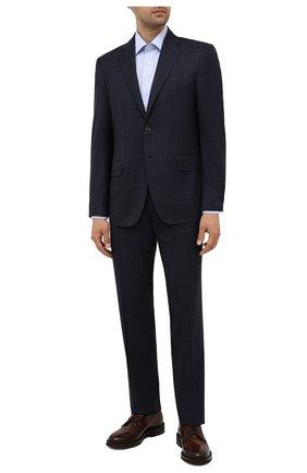 Мужская хлопковая сорочка CANALI голубого цвета, арт. NX05/GR01599 | Фото 2 (Материал внешний: Хлопок; Случай: Формальный; Рукава: Длинные; Стили: Классический; Длина (для топов): Стандартные; Рубашки М: Slim Fit; Воротник: Акула; Манжеты: На пуговицах; Принт: Однотонные)