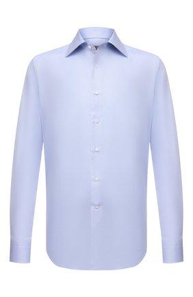 Мужская хлопковая сорочка CANALI голубого цвета, арт. N705/GR02333 | Фото 1 (Материал внешний: Хлопок; Длина (для топов): Стандартные; Случай: Формальный; Стили: Классический; Рукава: Длинные; Рубашки М: Slim Fit; Воротник: Акула; Манжеты: На пуговицах; Принт: Однотонные)