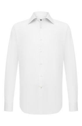 Мужская хлопковая сорочка CANALI белого цвета, арт. N705/GR02333 | Фото 1 (Длина (для топов): Стандартные; Материал внешний: Хлопок; Стили: Классический; Рубашки М: Slim Fit; Рукава: Длинные; Манжеты: На пуговицах; Принт: Однотонные; Воротник: Акула; Случай: Формальный)