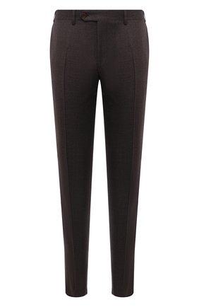 Мужские шерстяные брюки CANALI коричневого цвета, арт. 71019/AA02161   Фото 1 (Материал внешний: Шерсть; Случай: Повседневный; Стили: Кэжуэл; Длина (брюки, джинсы): Стандартные; Материал подклада: Вискоза)