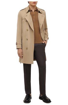 Мужские шерстяные брюки CANALI коричневого цвета, арт. 71019/AA02161   Фото 2 (Материал внешний: Шерсть; Случай: Повседневный; Стили: Кэжуэл; Длина (брюки, джинсы): Стандартные; Материал подклада: Вискоза)