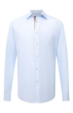 Мужская хлопковая рубашка BURBERRY голубого цвета, арт. 8043061 | Фото 1
