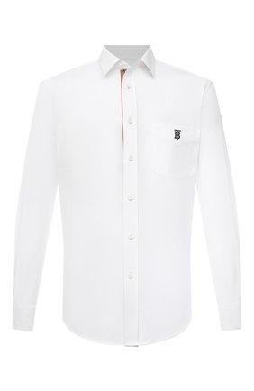 Мужская хлопковая рубашка BURBERRY белого цвета, арт. 8043060 | Фото 1
