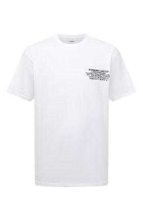 Мужская хлопковая футболка BURBERRY белого цвета, арт. 8042749 | Фото 1 (Длина (для топов): Стандартные; Материал внешний: Хлопок; Рукава: Короткие; Принт: С принтом)