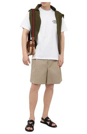 Мужская хлопковая футболка BURBERRY белого цвета, арт. 8042749 | Фото 2