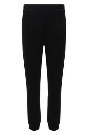 Мужские хлопковые джоггеры BURBERRY черного цвета, арт. 8042235 | Фото 1 (Мужское Кросс-КТ: Брюки-трикотаж; Длина (брюки, джинсы): Стандартные; Материал внешний: Хлопок; Стили: Спорт-шик; Силуэт М (брюки): Джоггеры)