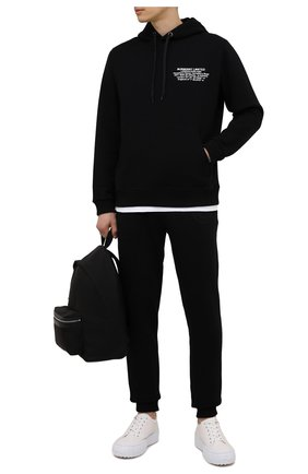 Мужские хлопковые джоггеры BURBERRY черного цвета, арт. 8042235 | Фото 2 (Мужское Кросс-КТ: Брюки-трикотаж; Длина (брюки, джинсы): Стандартные; Материал внешний: Хлопок; Стили: Спорт-шик; Силуэт М (брюки): Джоггеры)