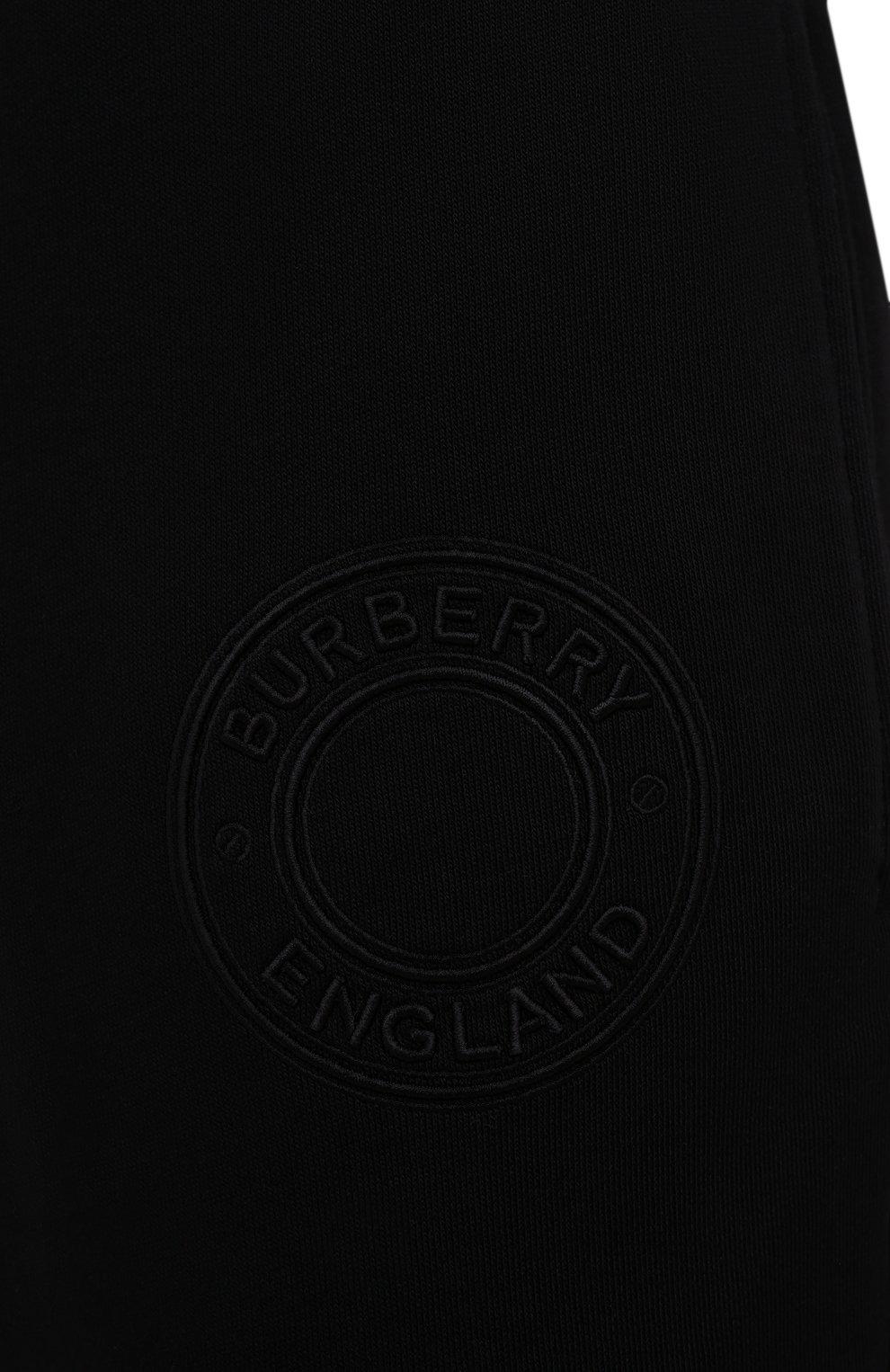 Мужские хлопковые джоггеры BURBERRY черного цвета, арт. 8042235 | Фото 5 (Мужское Кросс-КТ: Брюки-трикотаж; Длина (брюки, джинсы): Стандартные; Материал внешний: Хлопок; Стили: Спорт-шик; Силуэт М (брюки): Джоггеры)