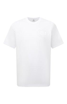 Мужская хлопковая футболка BURBERRY белого цвета, арт. 8042233 | Фото 1 (Материал внешний: Хлопок; Длина (для топов): Стандартные; Принт: Без принта; Рукава: Короткие)