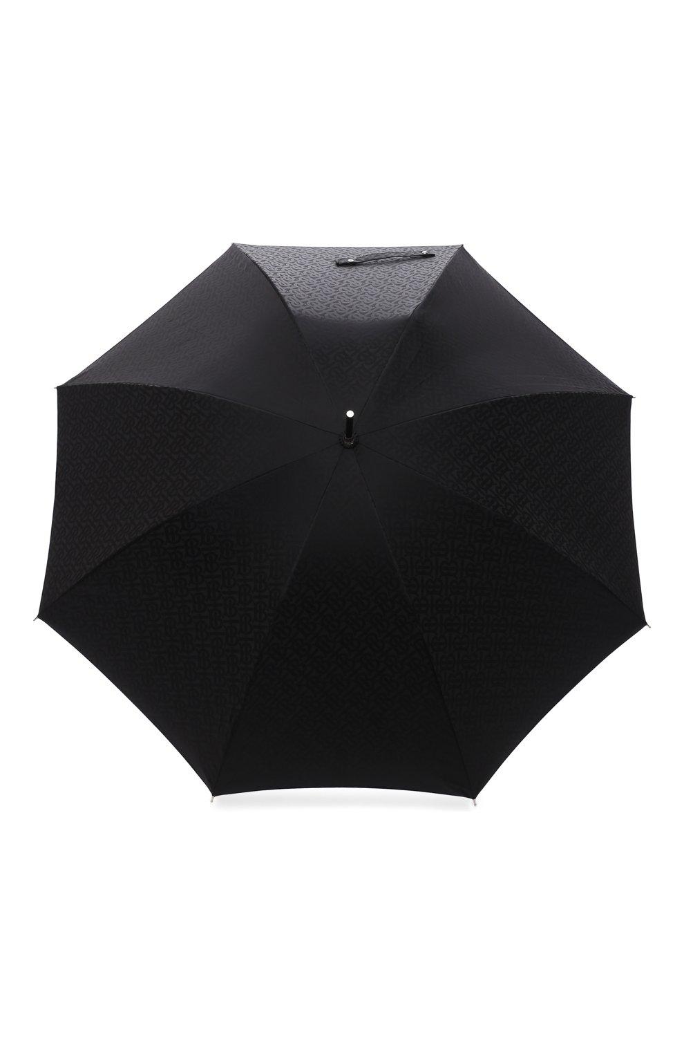 Мужской зонт-трость BURBERRY черного цвета, арт. 8025469   Фото 1 (Материал: Текстиль, Синтетический материал, Металл)