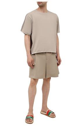 Мужские шлепанцы GUCCI кремвого цвета, арт. 655265/JFA00 | Фото 2