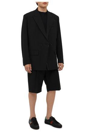 Мужские кожаные кеды ace gucci x freya hartas GUCCI черного цвета, арт. 659219/1XG60 | Фото 2