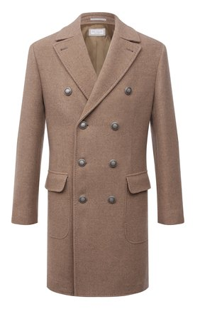 Мужской шерстяное пальто BRUNELLO CUCINELLI бежевого цвета, арт. MQ4219003D | Фото 1 (Материал внешний: Шерсть; Стили: Кэжуэл; Рукава: Длинные; Материал подклада: Купро; Мужское Кросс-КТ: пальто-верхняя одежда; Длина (верхняя одежда): До середины бедра)